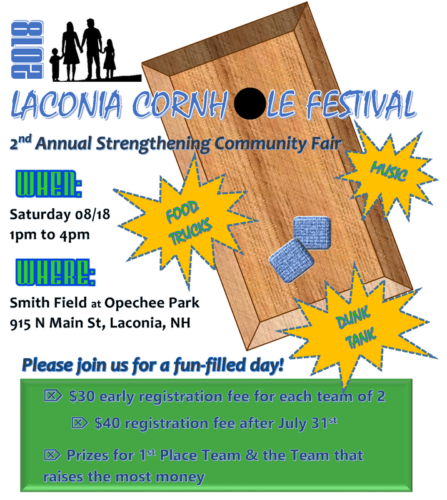 Come Visit Our Booth at Laconia's Cornhole Festival