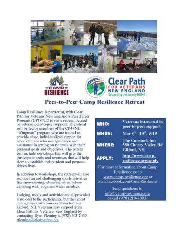 Peer-to-Peer Camp Resilience Retreat Planned for March!