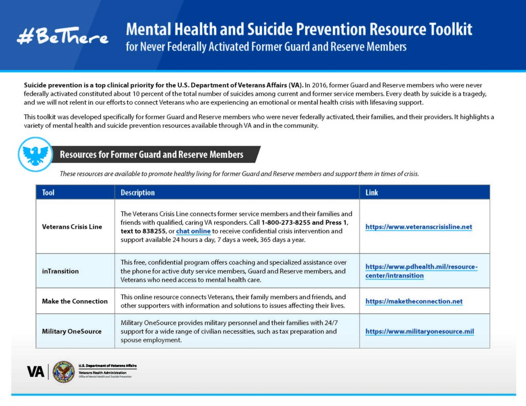 Mental Health & Suicide Prevention Resources for Former Guard & Reserve Members, Families and Health Care Providers